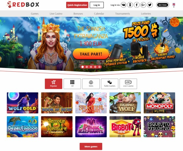 redbox casino website