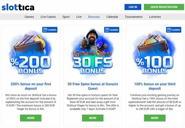 slottica casino bonuses